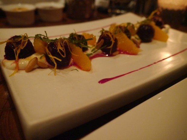 Roasted Red Beets, Orange, Goat Cheese, mint and Pine Nuts - 475RS [£4.75]