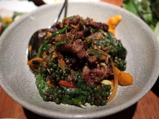 Nahm beef with chilli basil cumin garlic