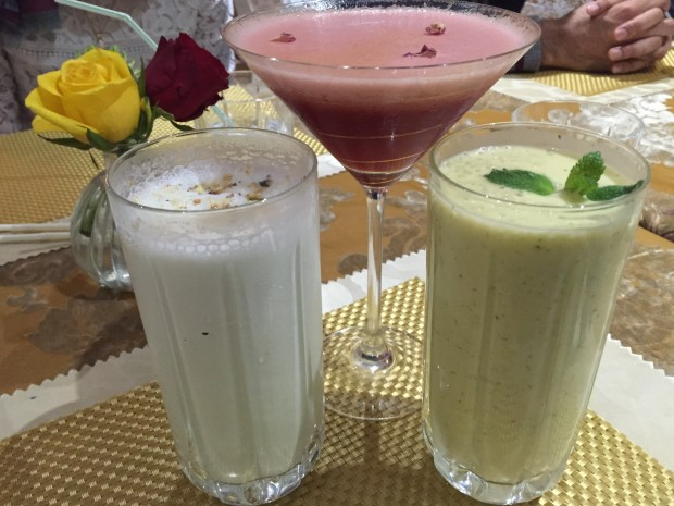 Almond and Pistachio Lassi [2x£4.50], Mango and Mint Lassi [2x£4.50], and Ambience D'esuraise [£6.95]
