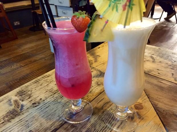 Strawberry Limonata [£3..95] and Pina Colada [£3.95]