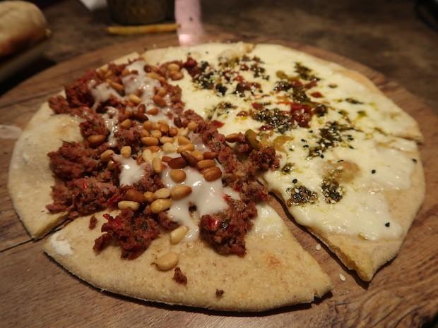 Za'atar & Akawi Cheese and Lamb Kofte Tahini Manaeesh