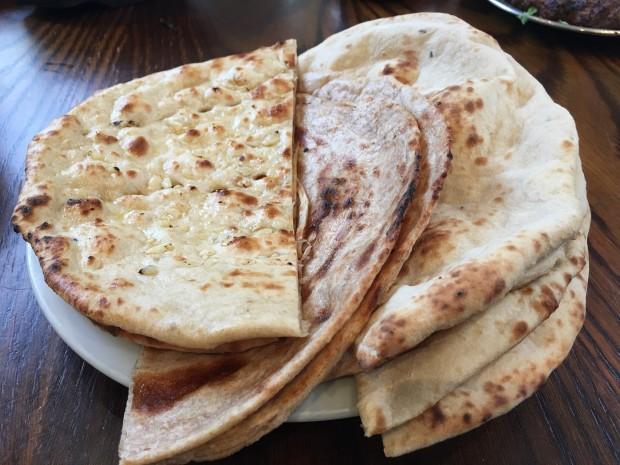 Naan, Garlic Naan, and Lacha Paratha