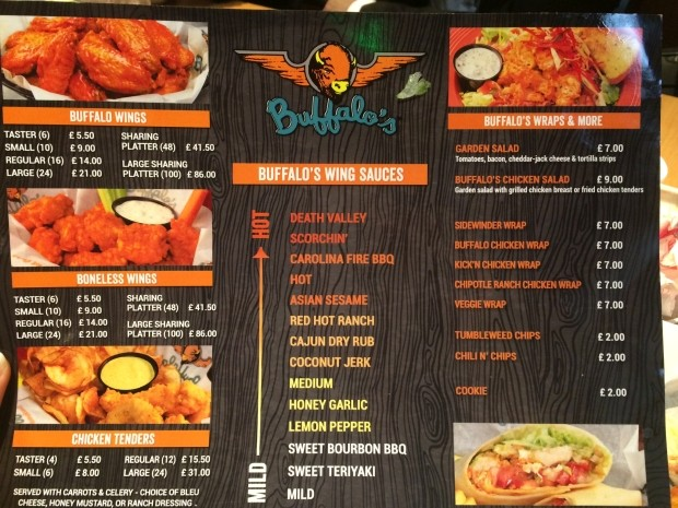 Wings Menu