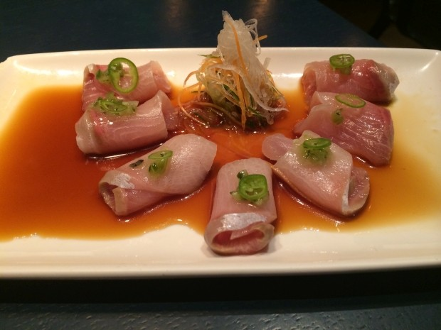 Yellowtail Sashimi with Kizami Wasabi Salsa and Yuzu-Soy [£13.50]